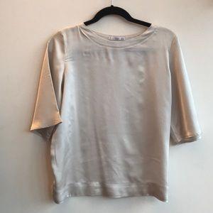 Mango Contrasting Satin T-shirt in Ecru